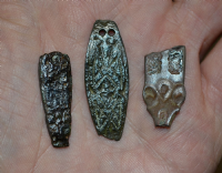"A great value group of 3 x Anglo Saxon bronze ""Zoomorphic"" strap ends found in North Yorkshire. SOLD"